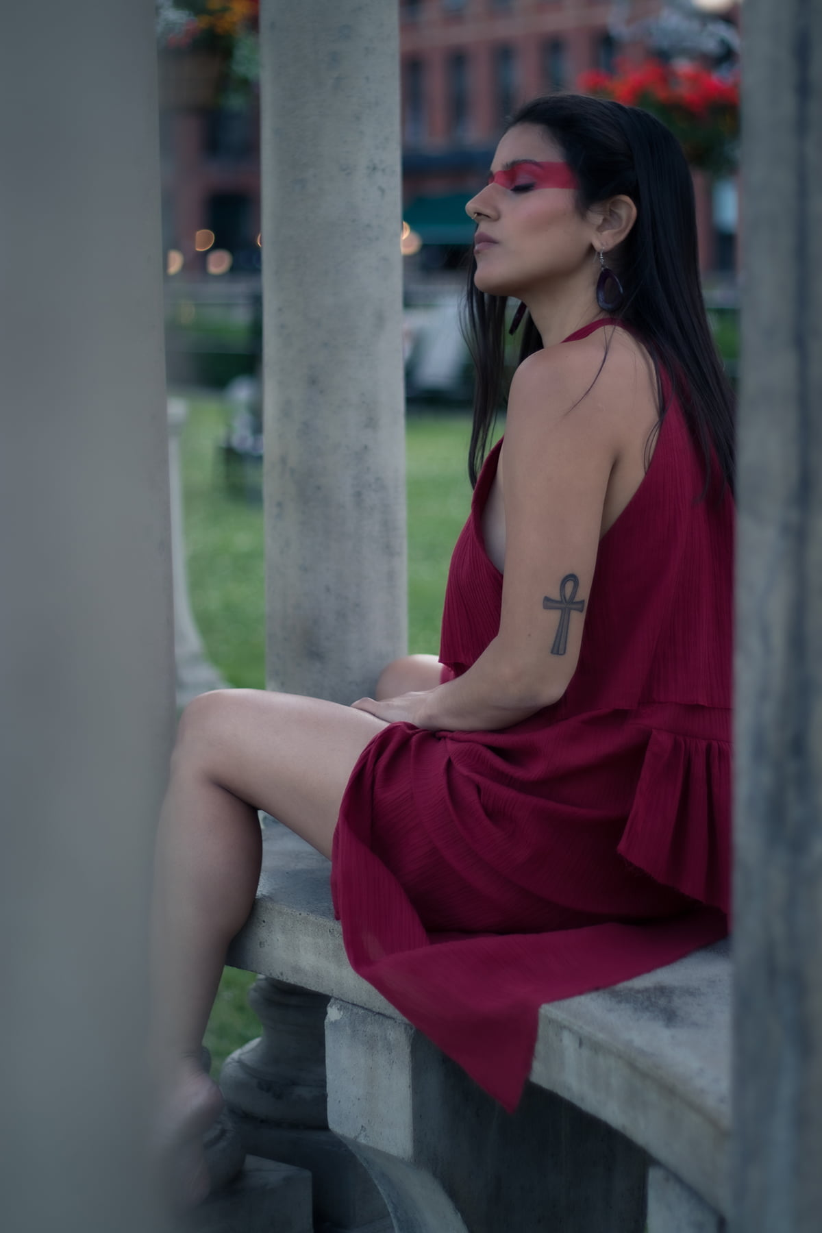 Woman wearing red organic cotton high neck red dress