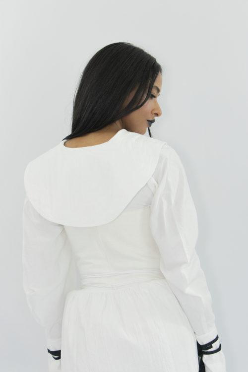 Woman wearing white zero waste cotton corset