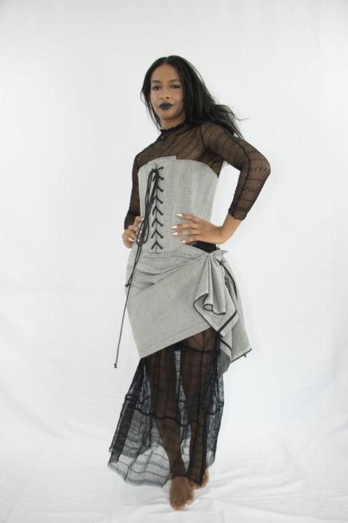 Woman wearing zero waste pleated assymetrical wrap cotton skirt
